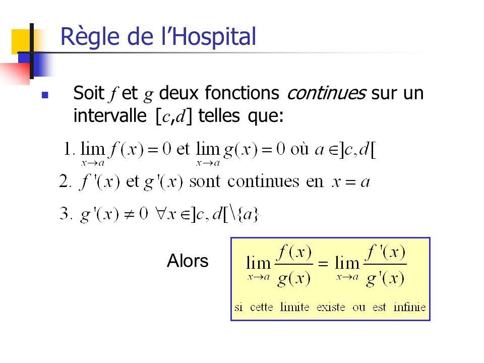 Règle de l'Hospital Soit f et g deux fonctions continues sur un intervalle [c,d] telles que: Alors